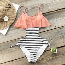 CUPSHE Ruffle One-piece Swimsuit Women Falbala Pink And Striped Beach Bathing Suit Swimwear 2018 Girl Sexy Backless Monokini(China)