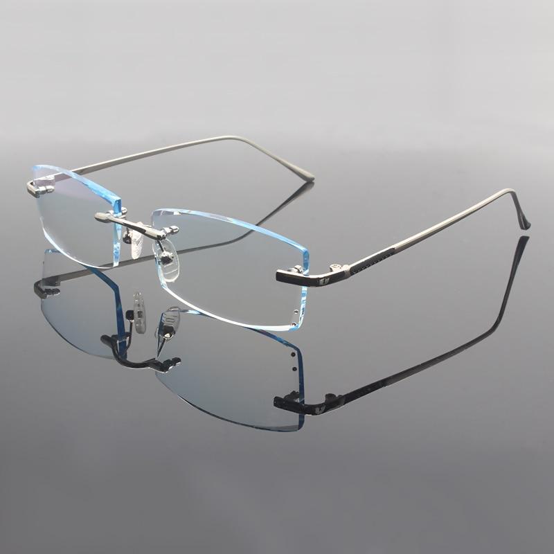 Men Eyewear G827 Diamond Trimming Cutting Rimless Eyeglasses Prescription Optical Glasses Frame for Man Spectacles