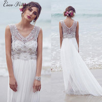 C V Europe Heavy Pearls Beading Fashion Bohemian Beach Wedding Dresses 2018 Sweep Train Plus Size