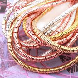 1x4mm Natural Hematite corrugate Rose Gold Slivers Plated Smooth Loose Stone Beads For DIY Jewelry Making Bracelet Necklace 15
