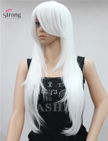 Long Layered Straight White Pink Silver Blonde Full Synthetic Wig Wigs