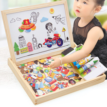 Wooden Magnetic Puzzle Figure/Animals/ Vehicle /Circus Drawing Board 5 styles Box Educational Toy Gift