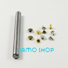 100pcs/lot 7mm Mix Color Free Shipping Metal Fashion Flat Circle Rivet Spike Studs With Tool Leather Clothing Decoration