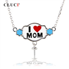 CLUCI 925 Sterling Silver Pearl Pendant Necklace Best Gift for Mom Silver 925 Pendant Necklace Mother' Day Gift Jewelry(China)