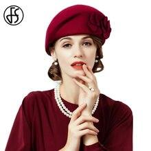 FS invierno de 100% mujeres de sombrero de lana francés boina con flor  señoras vino rojo elegante fieltro sombreros sombrero Feu. 1e00df730ad