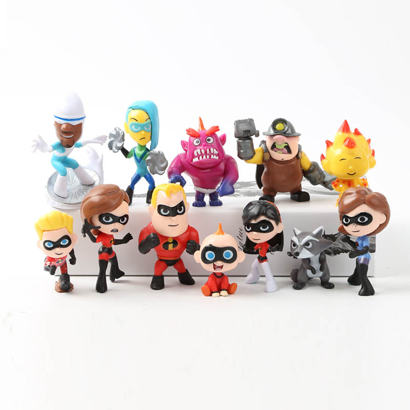 12pcs/set Disney Action Figure The Incredibles 2 Movie Super Man Family Cute Doll Children Kids Toys Collection Birthday Gift