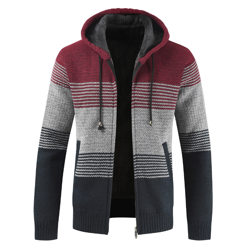 Oufisun Coat Men Cardigan Sweater Wool-Liner Zipper Cashmere Fleece Striped Winter Hooded