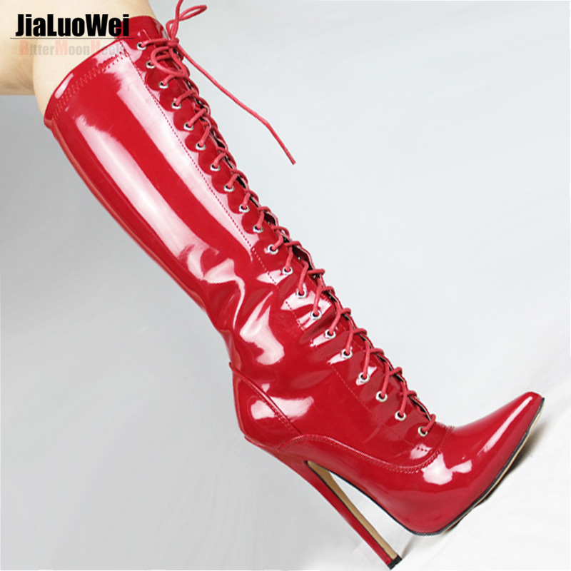 ФОТО Jialuowei Fashion spring autumn boots female pointed toe Knee-High boots women thin high heels Sexy lace-up martin shoes