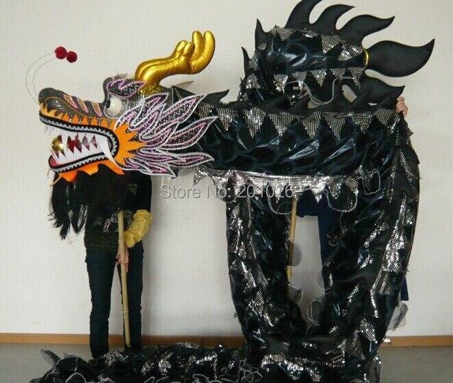 10m longueur taille 3 noir sur corps jaune chinois DRAGON danse ORIGINAL Dragon chinois Folk Festival célébration Costume