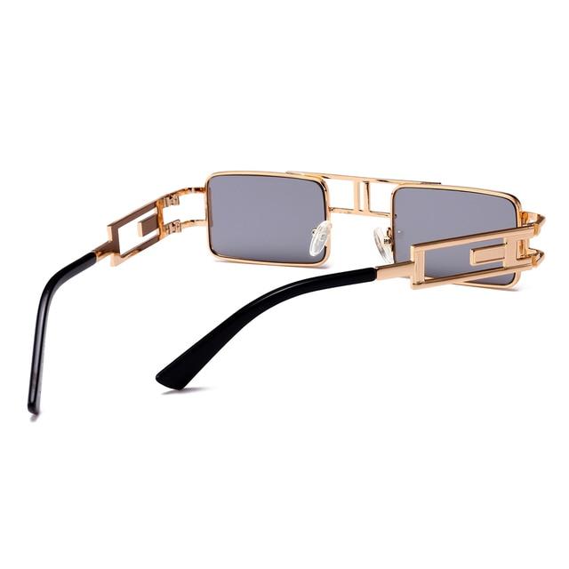 Peekaboo mens rectangular sunglasses steampunk men metal frame gold black red flat top square sun glasses for women 2018 3