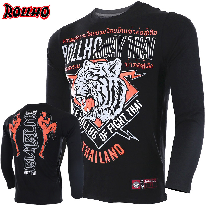 ROLLHO BUILT 2 FIGHT Long Sleeve T-Shirt MMA Fight Fighting Muay Thai Shirt Mma Clothing Mma T Shirt Elasticity Offset Printing