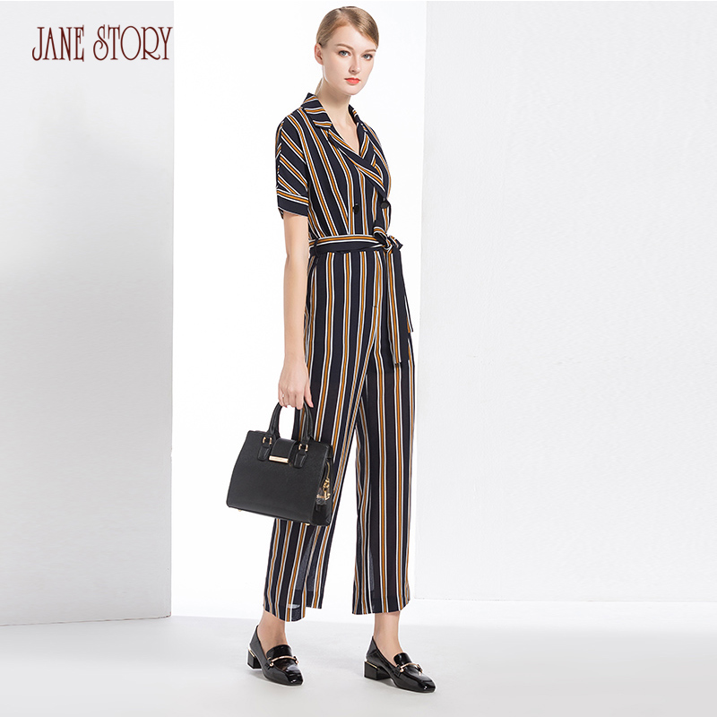 Jane Story 2018 Women Jumpsuit Fashion Striped Printed POLO Neck Short Sleeve Wide Leg Jumpsuit Elegant Office Lady Jumpsuit ...
