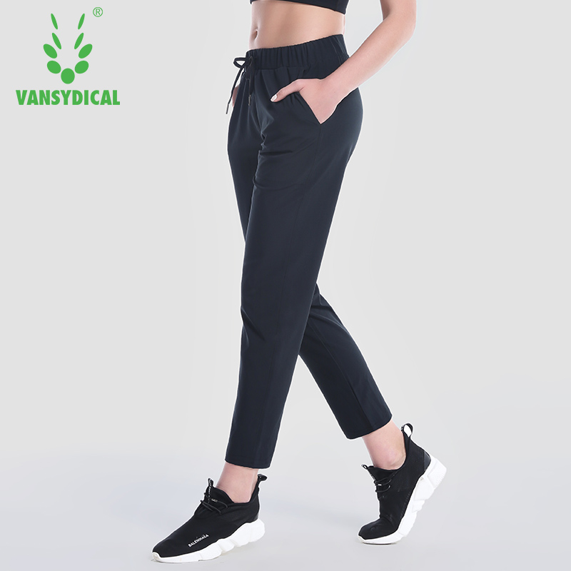 2018 sportswear Yoga pure color Pants New Running Gym Female Fitness Quick Dry black Elastic Breathable loose Pants ...