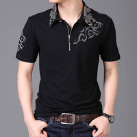 Summer 2016 Hot Men T Shirt Silver Dragon Tattoo Collar Short Sleeve Cotton T Shirt Men