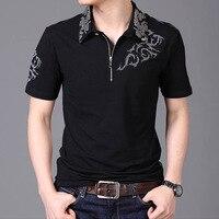 Summer 2016 Hot Men T Shirt Silver Dragon Tattoo Collar Short Sleeve Cotton T Shirt Men