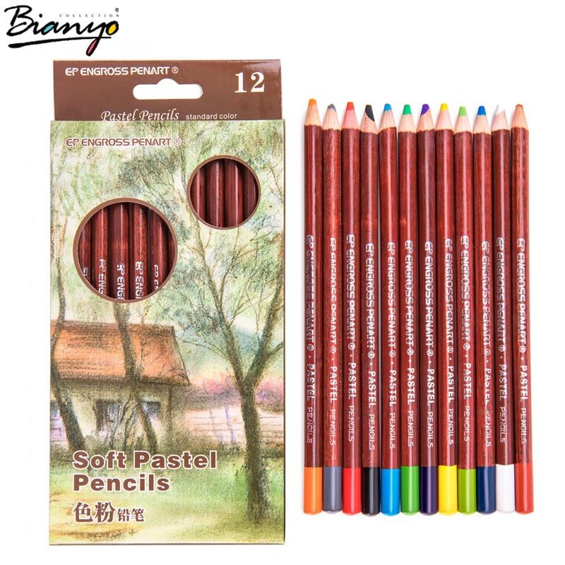 цены на 12Pcs Professional Soft Pastel Pencils Wood Color Tips Pastel Colored Pencils for Drawing School Lapices De Colores Stationery в интернет-магазинах