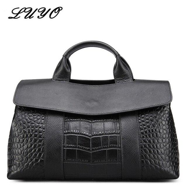 3973c0c479 Luyo Atmosphere Genuine Leather Woman Large Capacity Crocodile OL Women  Leather Handbags Tote Bag Shoulder Bags