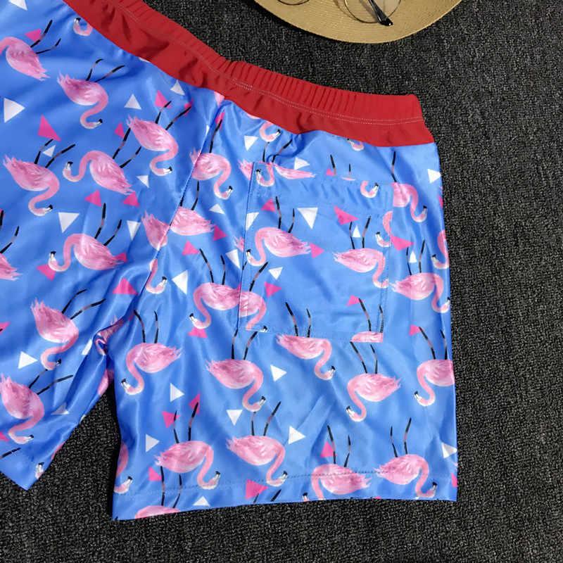 fb9c764b45 ... Blue Flamingo Printing Swimwear Men Swim Shorts Swimming Trunks Bermuda  Surf Beach Short Sport Briefs Bathing ...