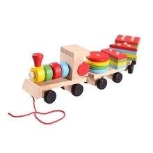 Деревянный набор с тремя маленькими поездами, карета, геометрическая форма, игрушки для детей, деревянная игрушка, натуральный Рождественский подарок