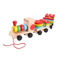 Деревянный набор с тремя маленькими поездами, геометрическая форма, игрушки для детей, пирамидка, дерево, натуральный Рождественский подар...
