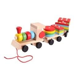 Деревянный набор с тремя маленькими поездами, карета, геометрическая форма, игрушки для детей, деревянная игрушка, натуральный Рождественс...