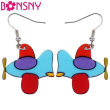 Bonsny Acrylic Plane Helicopter Earrings Dangle Drop Big Long Fashion Cartoon Geometric Jewelry For Girls Women Wholesale News(China)