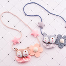 Korea Handmade New Cute Fox Star Flower Fabric Children Necklace For Girls Kids Pendant Apparel Accessories-HZPRCGNL024F