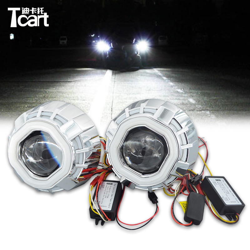 Tcart Double Color Square Prismatic Double Angel Eyes bi-xenon Projector Lens Light For Auto CAR Headlights prismatic kids для дома