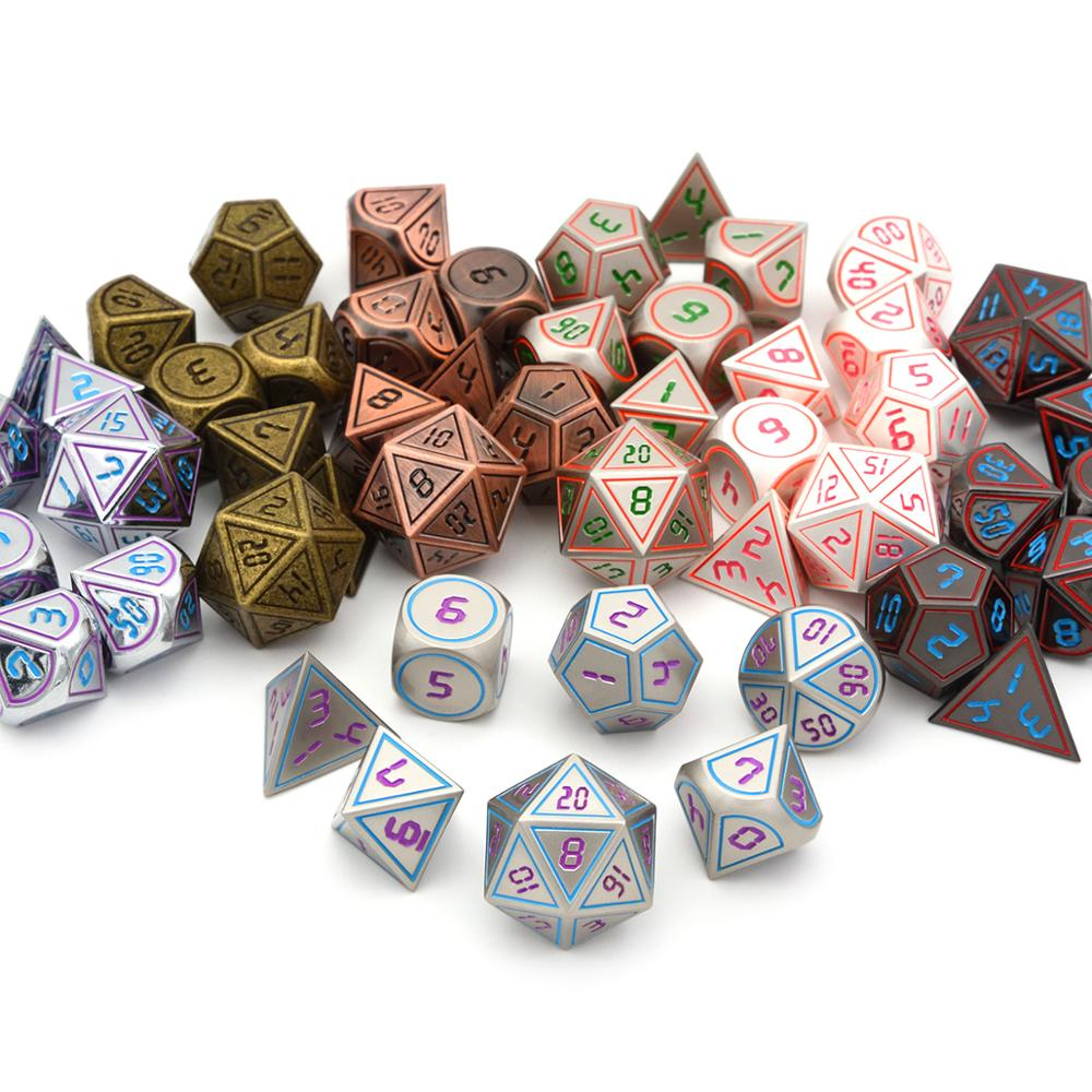 7pcs/set Metal Dice With Black Drawstring Pouch For Dungeons And Dragons RPG Dice Games(Different Colors For Option)