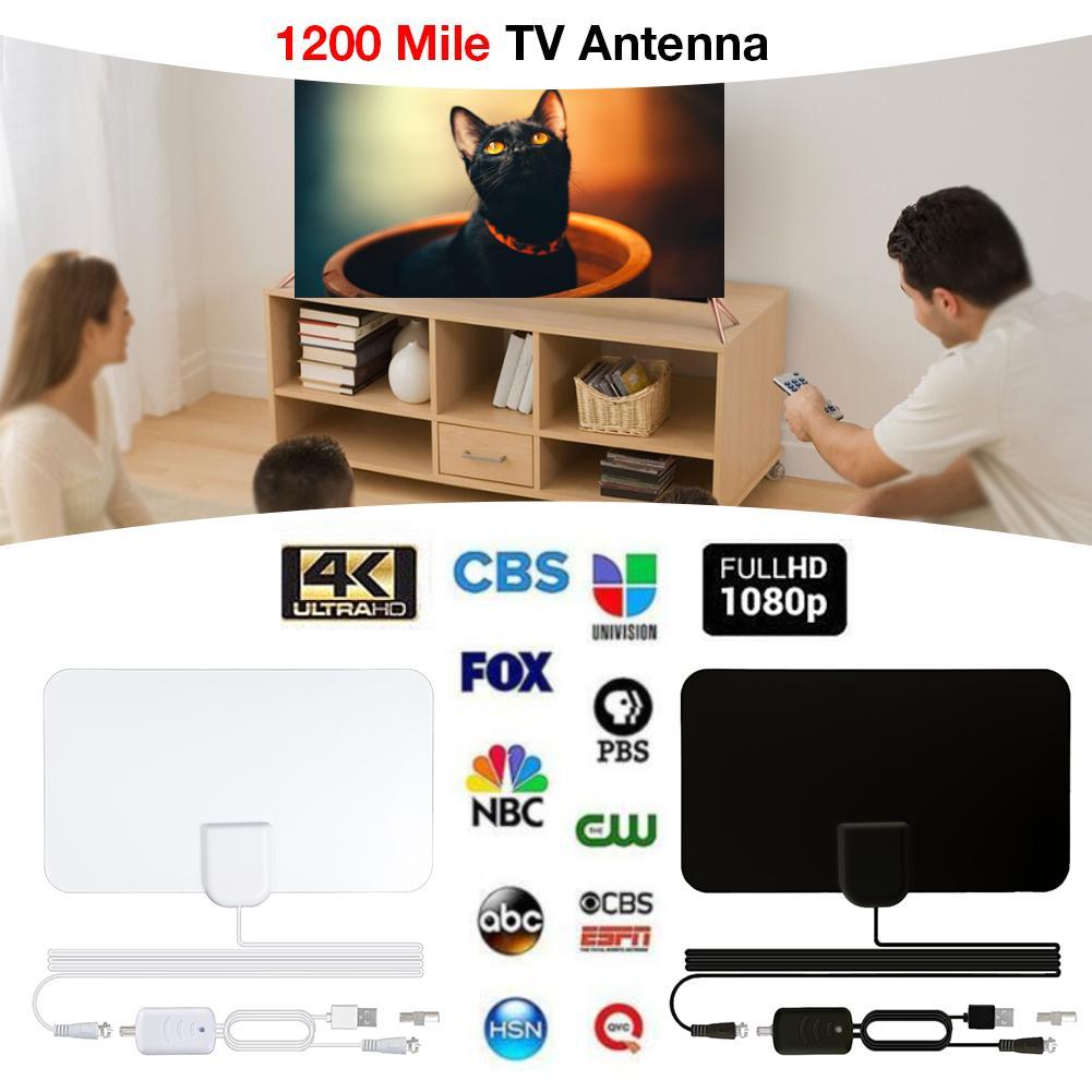 1200 Miles TV Antenna White Mini HD Indoor Digital 4K 1080P HDTV Amplifier