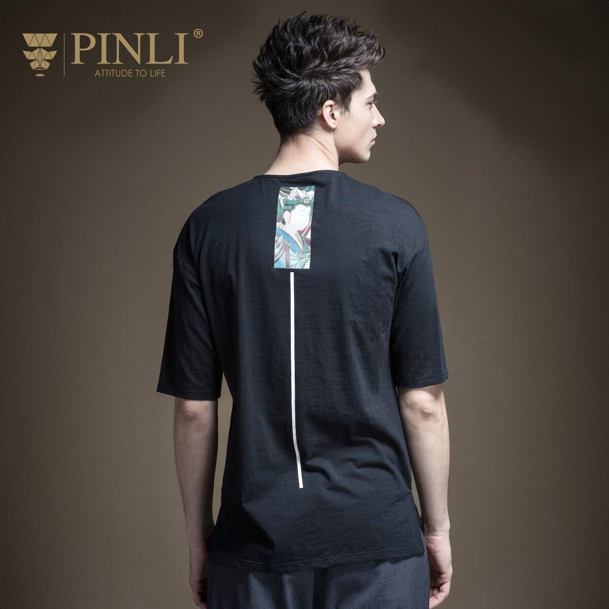 Pinli Promosyon Moda O-Boyun Bambu Elyaf Baskı Ürünleri 2017 Yaz Yeni erkek Giyim, T-shirt, kısa Kollu Gömlek B172611428