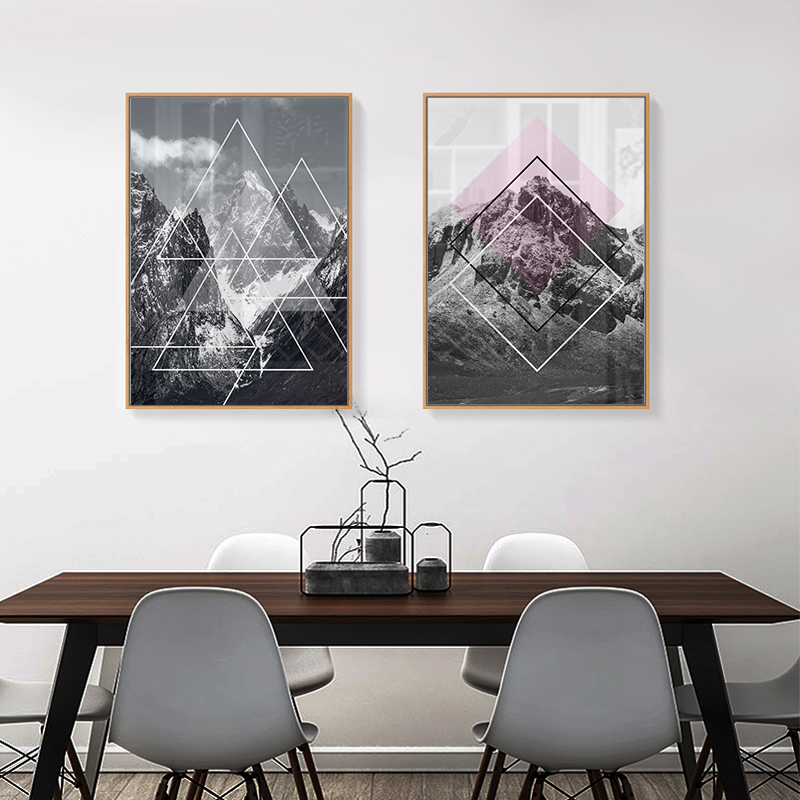 Nordic Geometric Mountain Paintings Modern Art Canvas Painting Posters And Prints Wall Pictures For Living Room Home Decoration in Painting Calligraphy from Home Garden