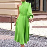 Vintage Sexy Summer Lantern Lantern Sleeve Long Dress Women 2019 Green One Shoulder Plus Size 4XL Female Dinner Party Midi Dress