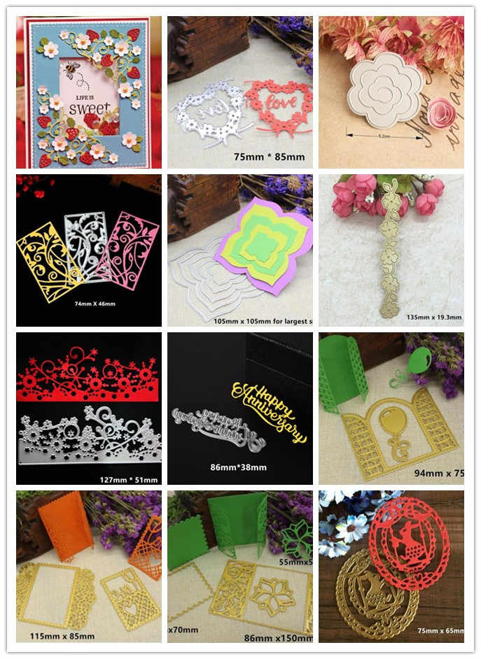 Sterft Metalen Snijden Stencils Liefde Gelukkige Verjaardag Bloemen Vlinder Cartoon Kant Sterven Postzegels Embossing Stencil voor Scrapbooking