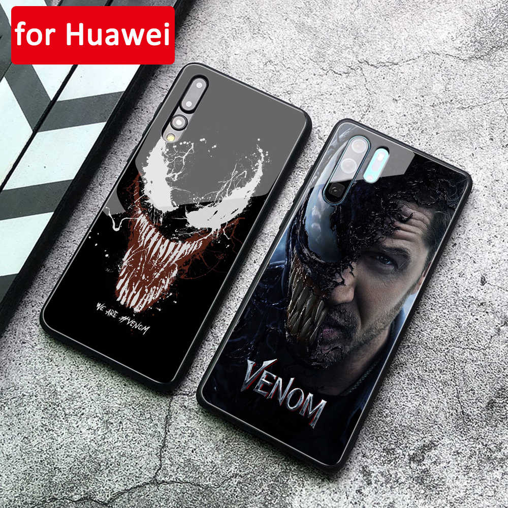 For Huawei P20 Lite Case Venom Marvel Tempered Glass Cover for Huawei Mate 9 10 Pro P10 P20 Lite Note 10 Mate 20 Pro Honor v10