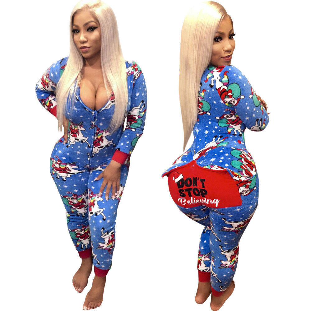 e25b8315cc15a New Sexy Women Xmas Jumpsuit Skinny Bodycon V Neck Romper Long Sleeve  Playsuit Christmas Party Lady Clubwear Trousers Pant S-2XL