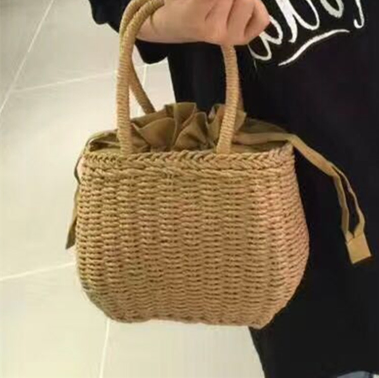 2018 Women Hand-woven Summer Pure Straw Bag Beach Handmade Woven Handbags Causal Shoulder Bags for Women Boho Shopping Tote