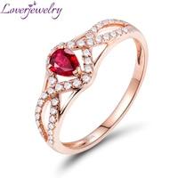 Натуральные рубиновые кольца 14 к розовое золото блестящий алмаз настоящий драгоценный камень для женщин юбилейные ювелирные изделия оптом