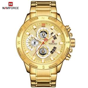 Image 4 - NAVIFORCE relojes deportivos para hombre, cronógrafo de pulsera, resistente al agua, de cuarzo, militar, dorado, Masculino
