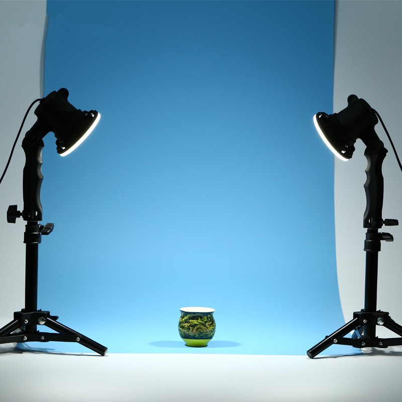 CY 2 pcs photo studio flash LED lamp photography studio light bulb portrait soft box fill lights bulb + 2*37CM light stand