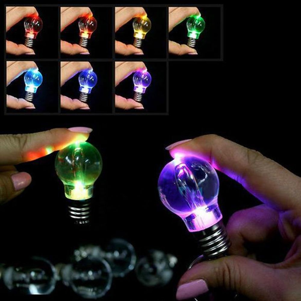 Creative Gift Night Light Lighting Bulb Colorful 7 Color Changing LED Flashlight Keyring Keychain