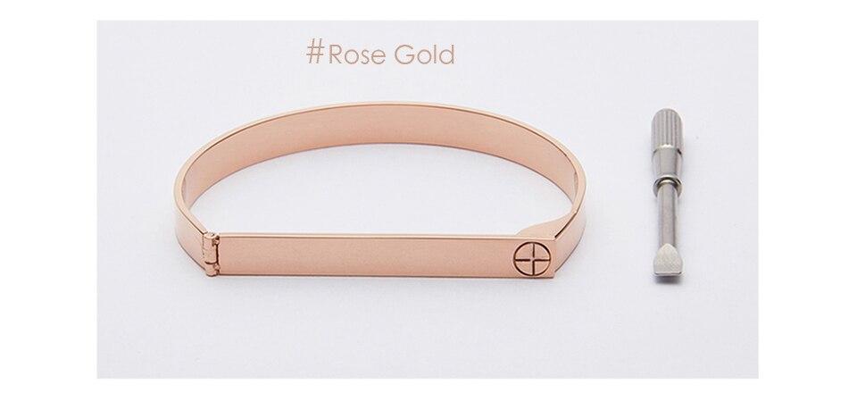 Enfashion Personalized Engraved Name Bracelet Gold Color Bar Screw Bangle Lovers Bracelets For Women Men Cuff Bracelets Bangles 12