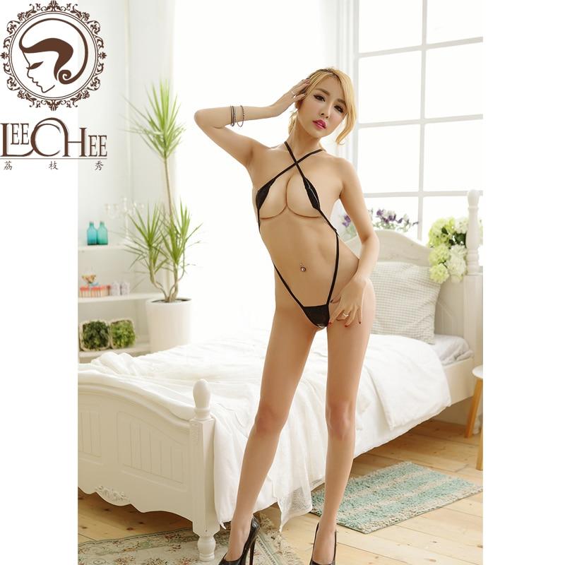 Lencería sexy de cuero de las mujeres perspectiva de hueco de tres puntos tentación dama ropa interior erótica disfraces pornoQ739