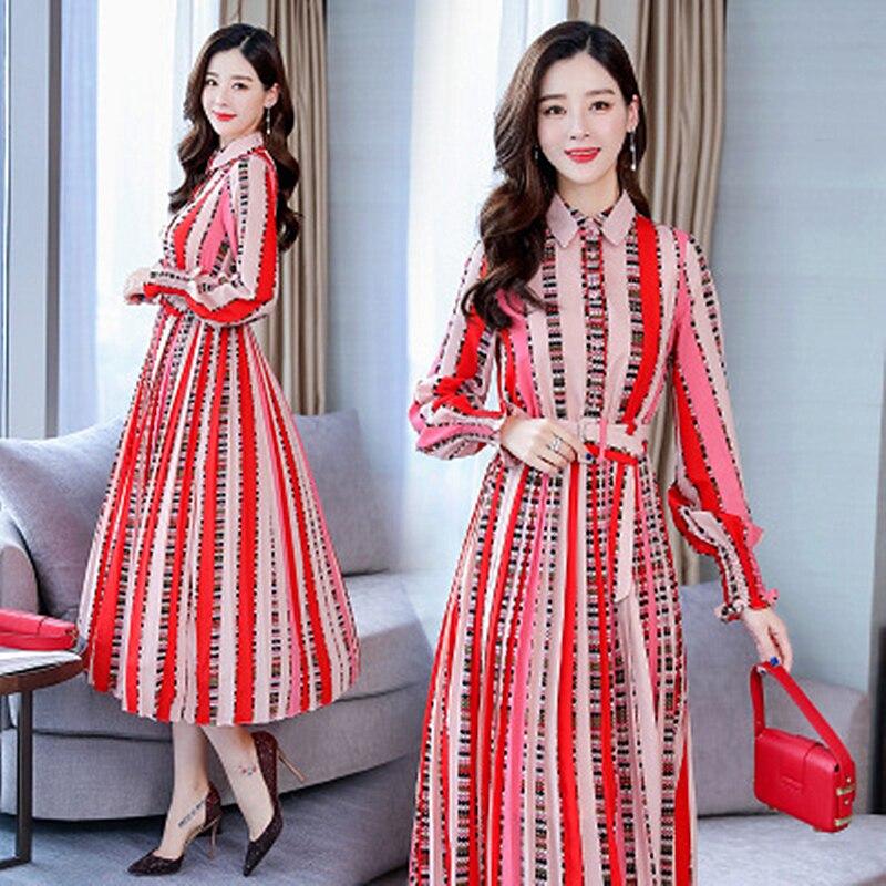 2019 spring new temperament long sleeved printed belt long dress Slim waist fashion women 39 s clothing in Dresses from Women 39 s Clothing