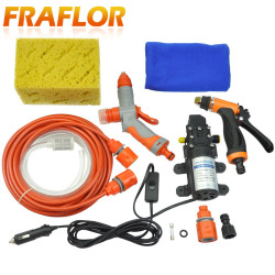 High Pressure Self-priming Electric Car Washing Washer Machine 12V Car Washer Pump Cleaner + Foam Water Gun [Package 1]