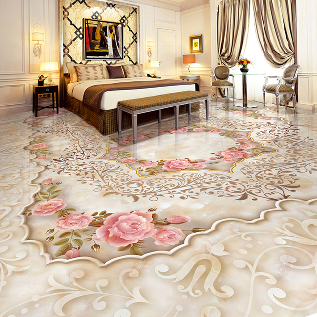 Custom 3d Floor Tiles Wallpaper Marble Pink Flowers Photo Mural
