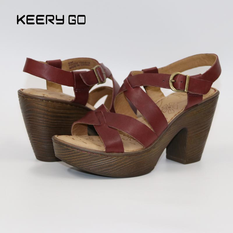 new high end leather high heeled shoes comfort feet to restore the ancient fashion elegant sandals