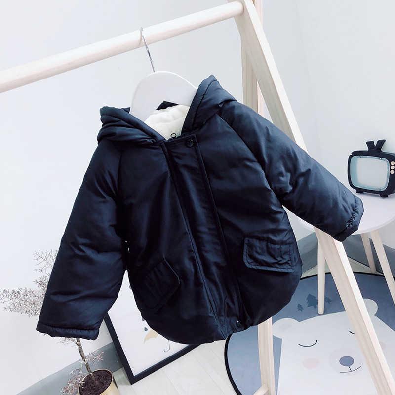 Милая новая хлопковая куртка для девочек 2019 г., новое зимнее пальто милая утепленная детская модная куртка с капюшоном и бархатом