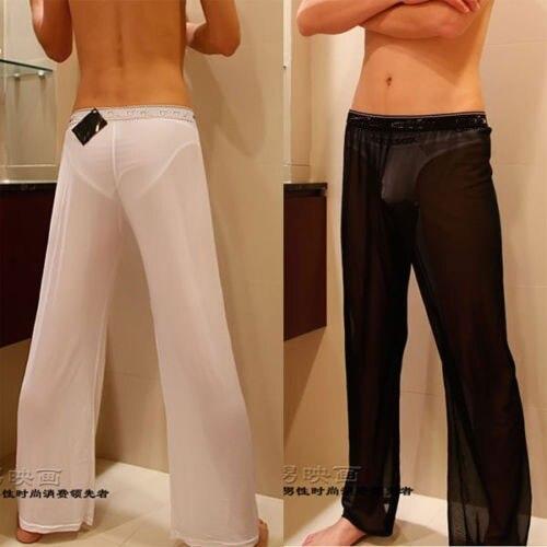 Men's Sexy Mesh Sheer Lounge Pants Sexy Long Pants Black White Free Shipping