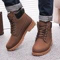 Homens neve tornozelo botas sapatos 2015 moda PU homens inverno cunhas botas quentes sapatos de neve